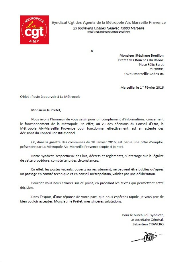 courrier préfet ouverture de poste