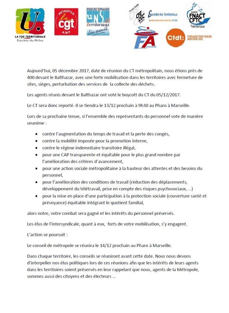 communiqué intersyndical 6 Décembre 2017