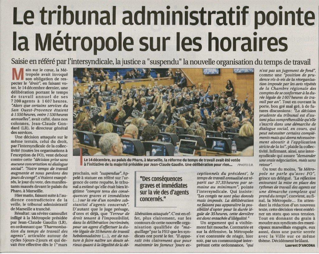 Article La Provence Temps de Travail