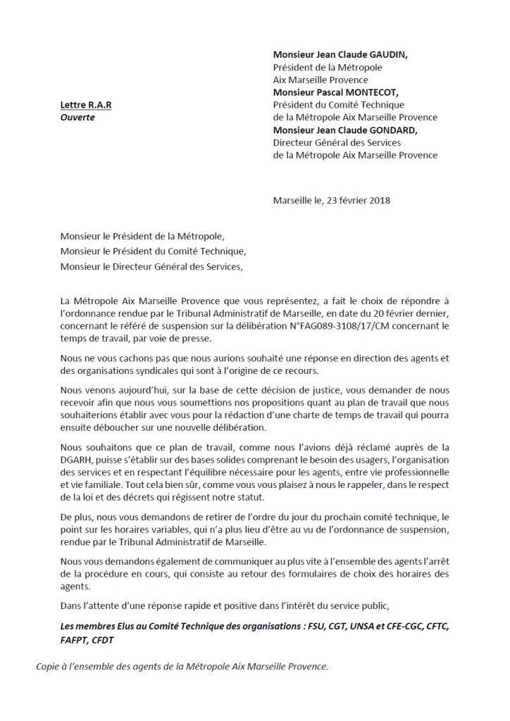 lettre ouverte intersyndicale temps de travail