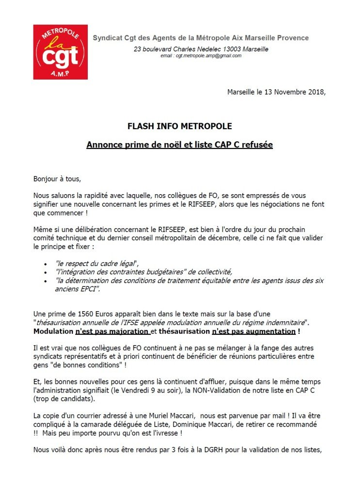 Flash info prime et refus liste CAP C p1