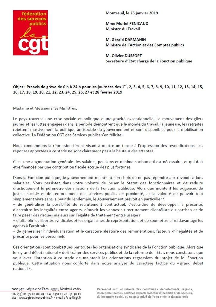 préavis de grève du 1er au 28 Février 2019 p1