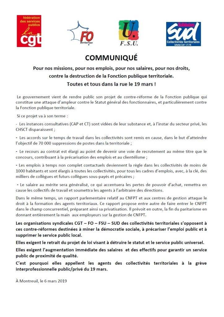 communiqué OS FP loi transformation FP appel 19 Mars